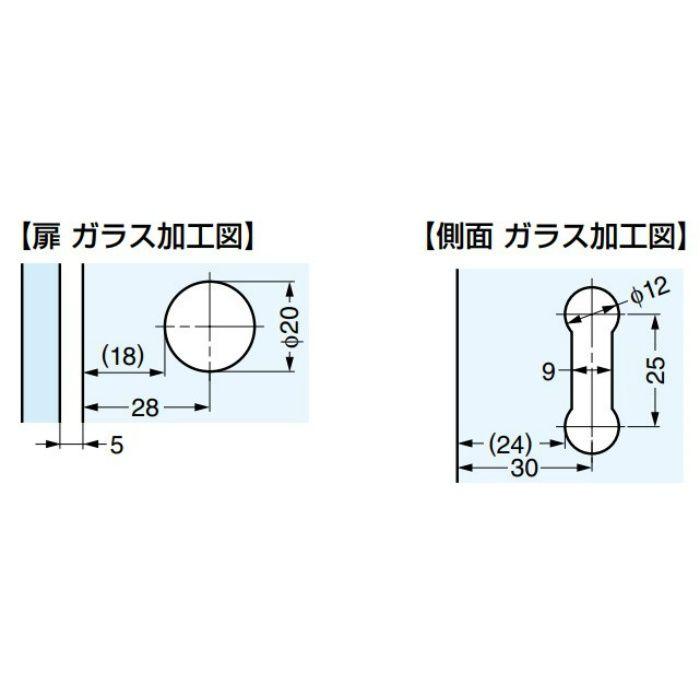 ランプ印 ガラス丁番 GH-450G型 ガラス側板用(90°タイプ) インセット扉用 GH-450G-GC