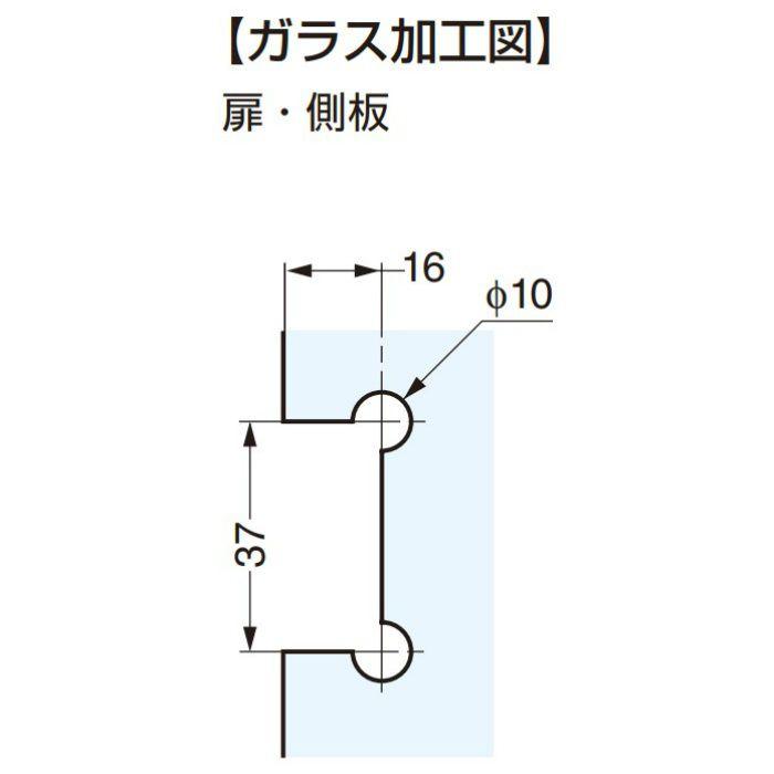 キャッチ付ガラス丁番 334GG51N ガラス側板(90°タイプ)、かぶせ扉用 334GG51N