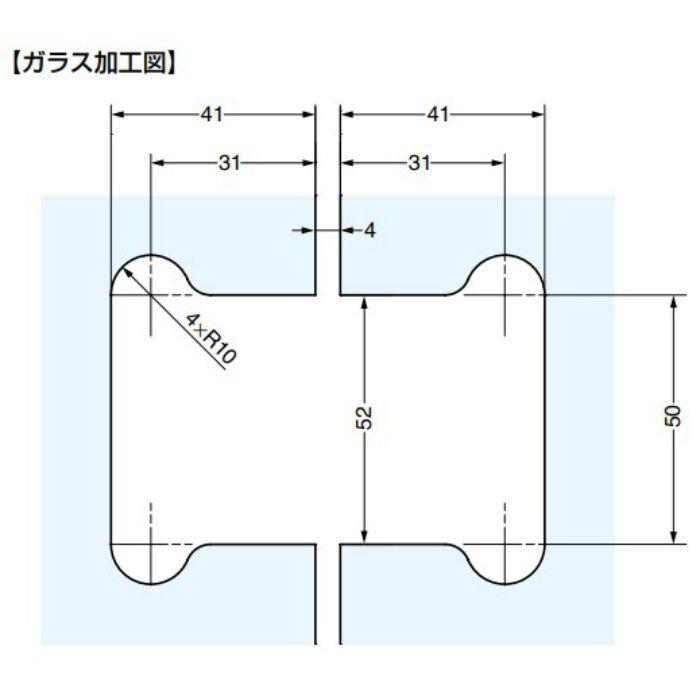 ガラスドア用自由丁番 M8505型 ガラス取付タイプ M8505R-40