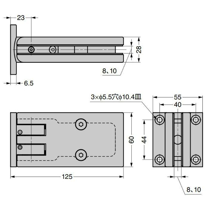ソフトクロージング機構付ガラスドア用自由丁番 M825E00-14 壁取付タイプ M825E00-14