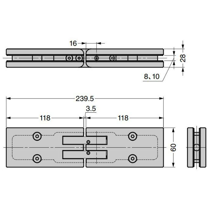 ソフトクロージング機構付ガラスドア用自由丁番 M825E50-14 ガラス取付タイプ M825E50-14