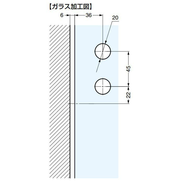 ソフトクロージング機構付ガラスドア用丁番 M835E10型 壁・アルミフレーム取付 ソフトクロージング機構付 M835E10L-13