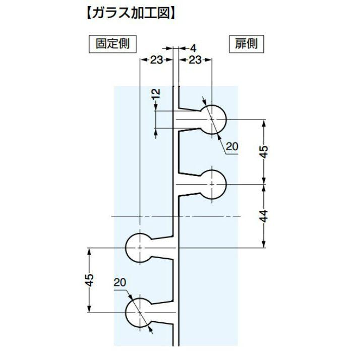 ソフトクロージング機構付ガラスドア用丁番 M835E50型 ガラス取付 ソフトクロージング機構なし M835E50SOLL-14