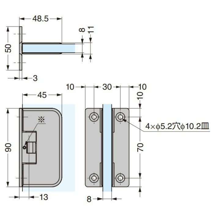 ガラスドア用自由丁番 DG-CS0M 壁取付タイプ DG-CS0M