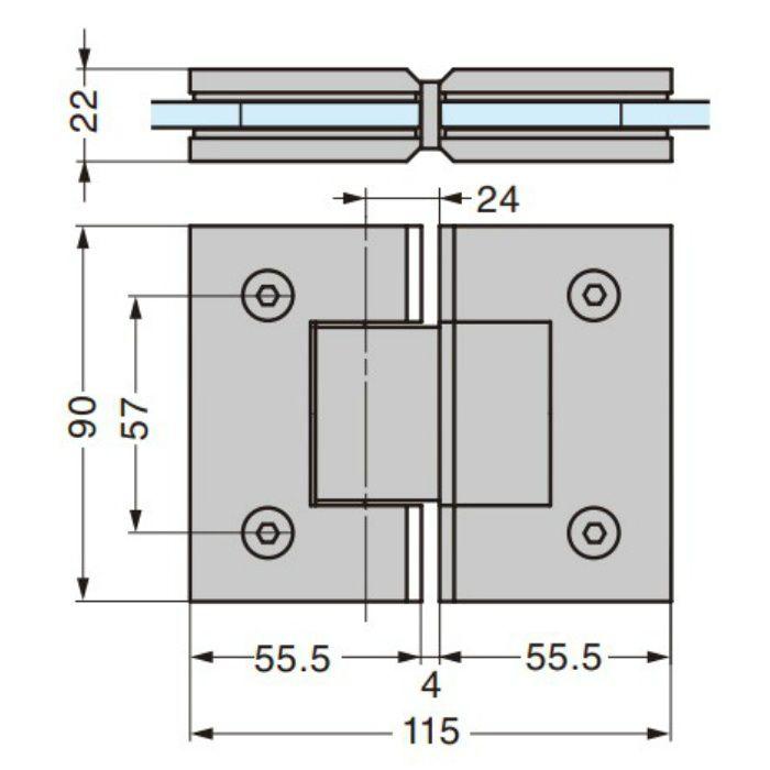 ガラスドア用自由丁番 785A型 ガラス取付タイプ 785A-10SCR