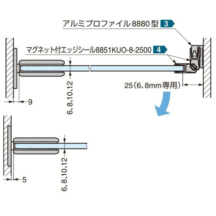 ガラスドア用自由丁番 SGH85型 壁取付タイプ SGH85-10