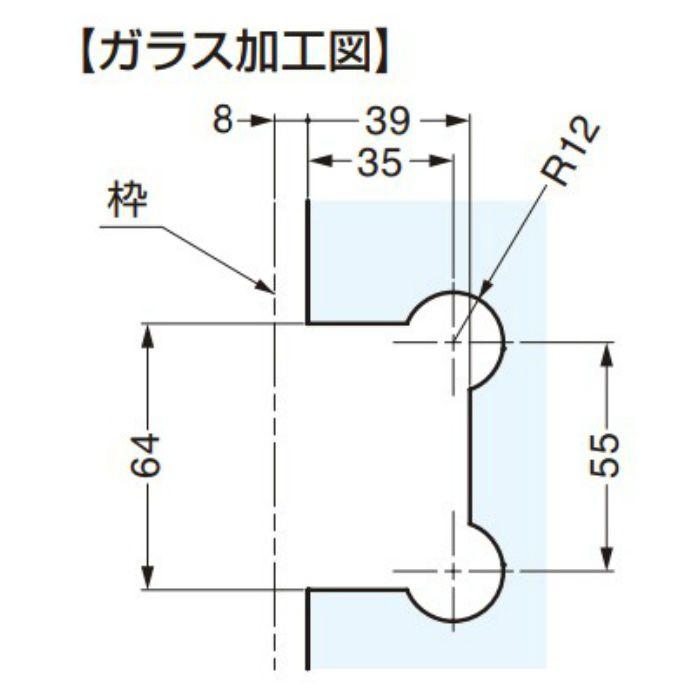BESTKO ステンレス鋼製ガラスドア用自由丁番 BK012-90型 壁取付タイプ BK012-90SM