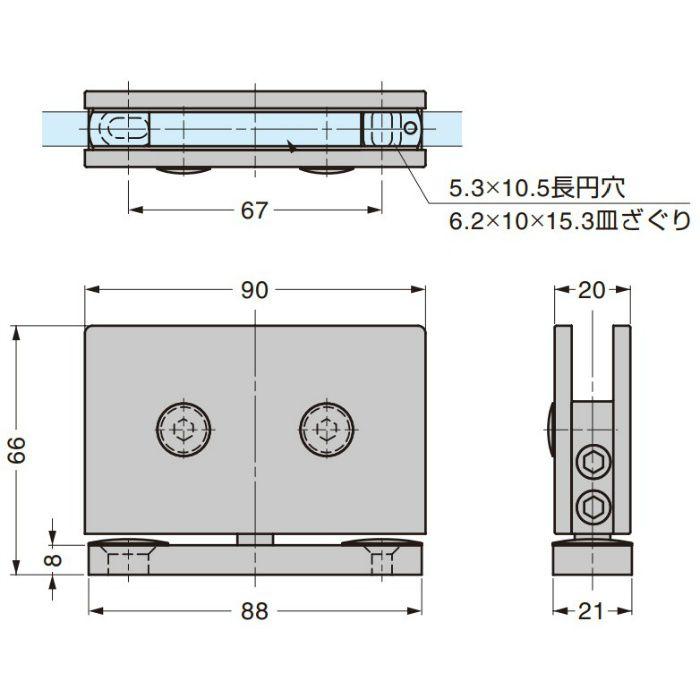 BESTKO ステンレス鋼製ガラス扉用ピボットヒンジ BK1142F型 BK1142FSS