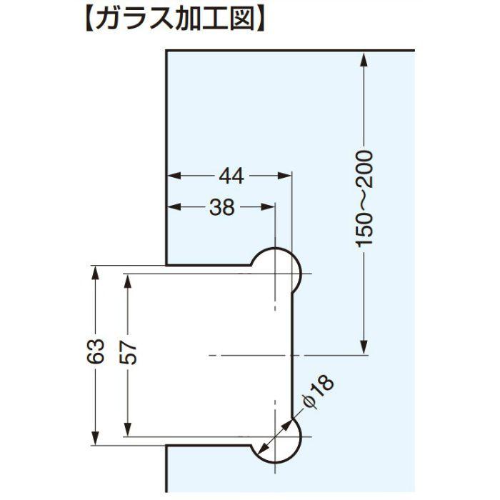 ガラスドア用自由丁番 07210-31 壁取付タイプ 07210-31