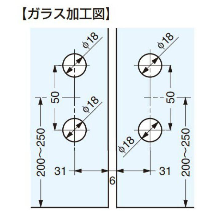 PS ガラスドア用丁番 8483ZN5 ガラス取付タイプ 2ヶ 8483ZN5
