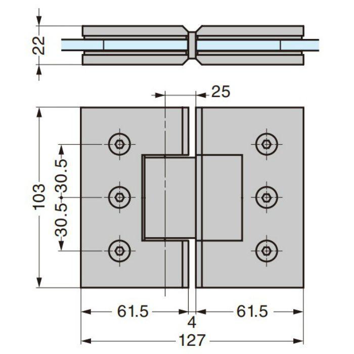 ガラスドア用自由丁番 789A型 ガラス取付タイプ 789A-8SCR