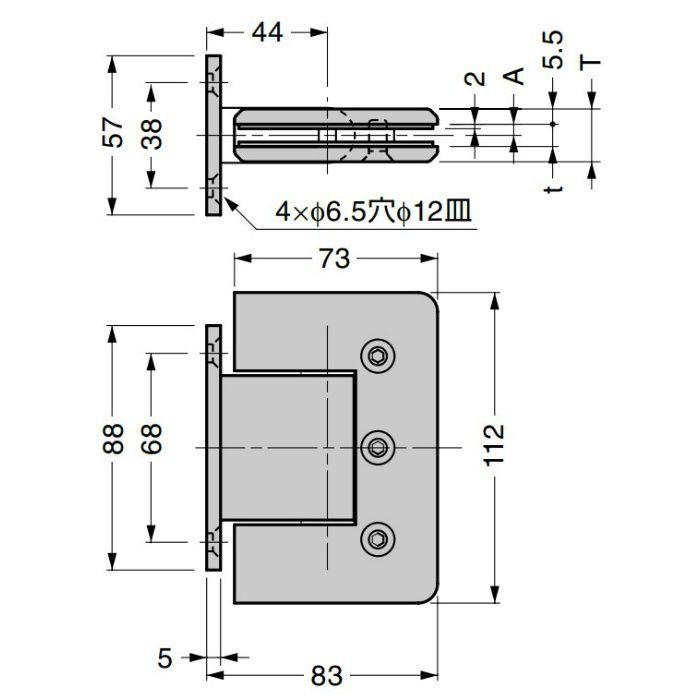 ガラスドア用 自由丁番 789L型 壁取付タイプ 789L-10