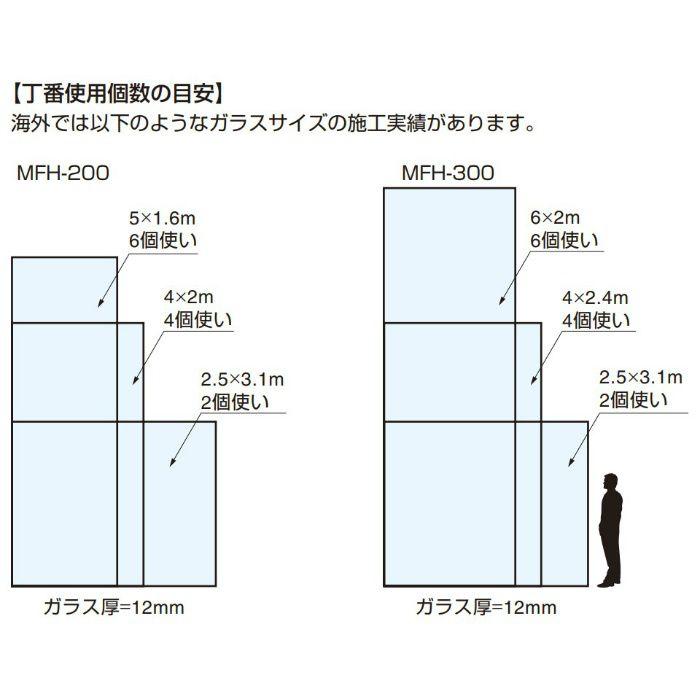 MANFREDFRANK ステンレス鋼製大型ガラス用スライド丁番 MICROMASTER MFH-300 インセット・かぶせ扉兼用 2ヶ MFH-300