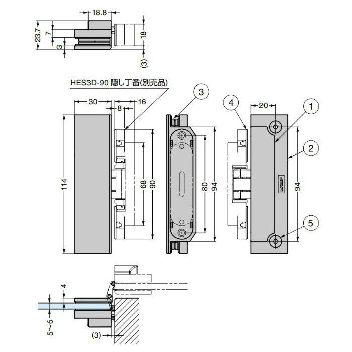 ランプ印 ガラス扉用ブラケット HES3D-G90BKT型 ブラック HES3D-G90BKT-BL