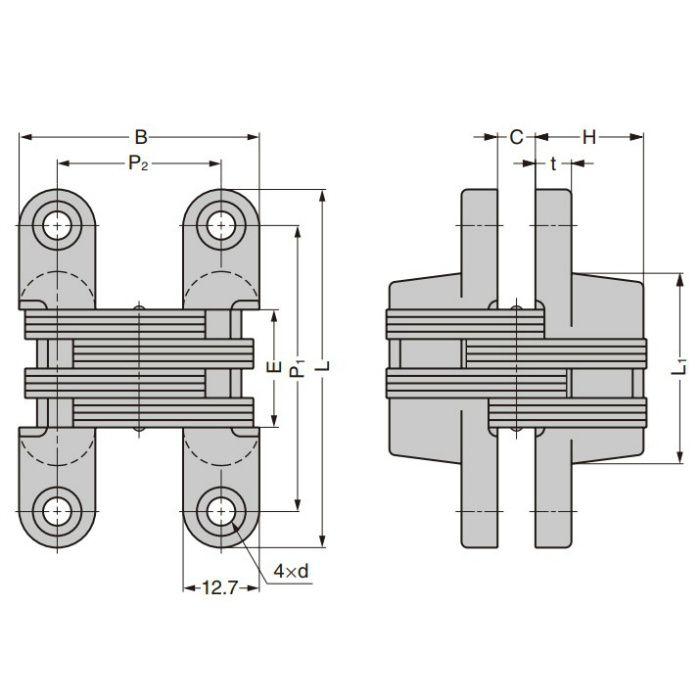 ルーター用隠し丁番 RS-205型 金属製扉専用型 RS-205E