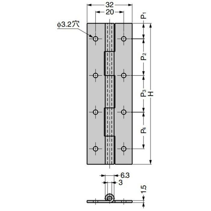 ステンレス鋼製平丁番 KHA型 取付穴あり KHA-65C
