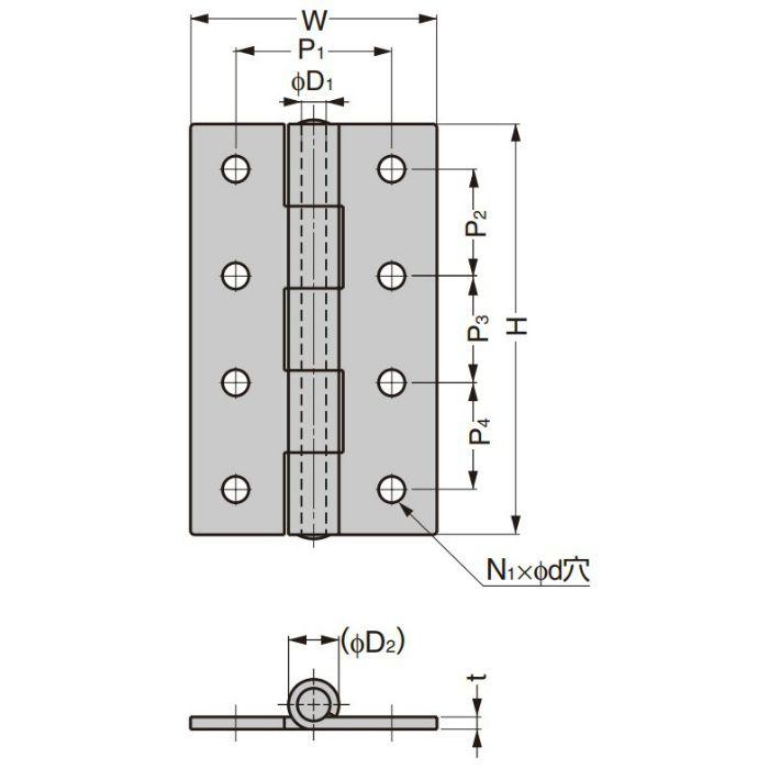 ランプ印 ステンレス鋼製平丁番 LSA型 LSA-40