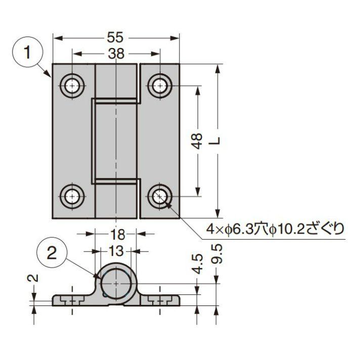 アルミ合金製スプリング丁番 72-1-CLM型 シルバー 72-1-NM-4214
