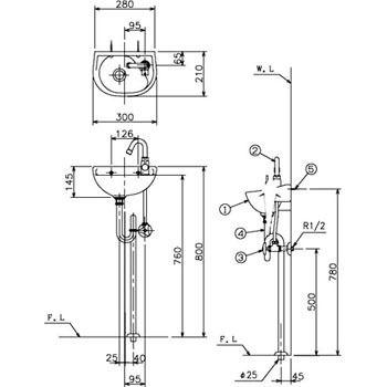 L13SSET 手洗器 Sトラップセット