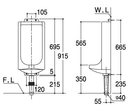 U14SET 非水洗便器 壁掛小便器 ホワイト