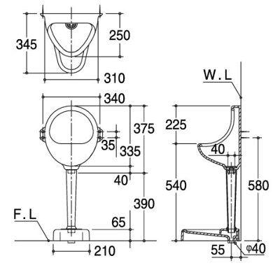 U1SET 非水洗便器 壁掛小便器 ホワイト