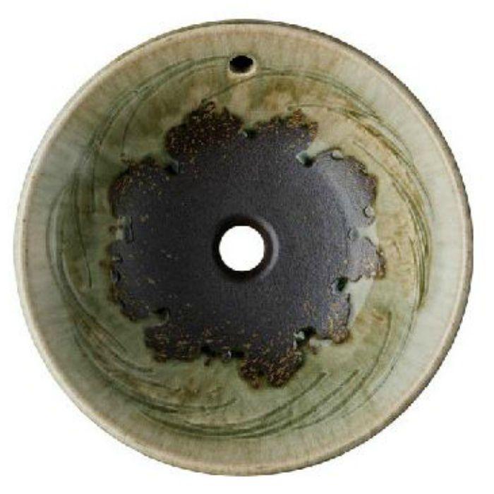 HW1026P-L-023 「利楽」 洗面器(オーバーフロー) 翠碧