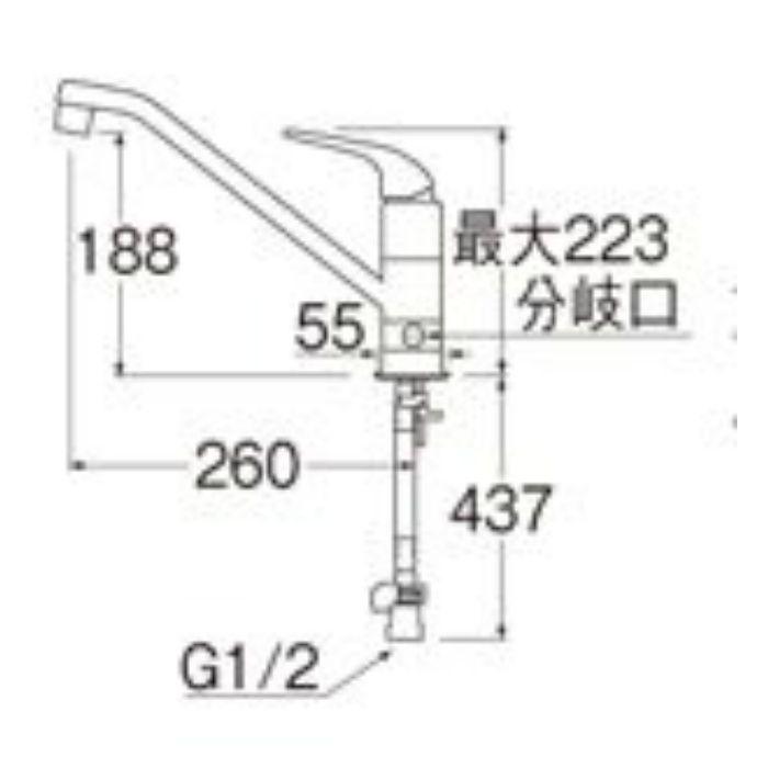 K87010BTJK-13 U-MIX シングルワンホール分岐混合栓(寒冷地用)【ワンホール】