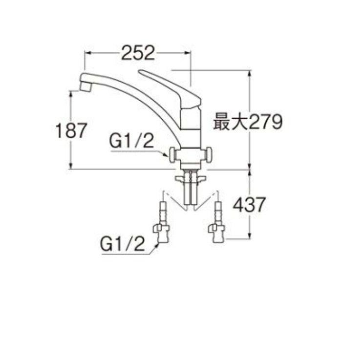 K8761ETJV-13 U-MIX modello シングルワンホール分岐混合栓【ワンホール】