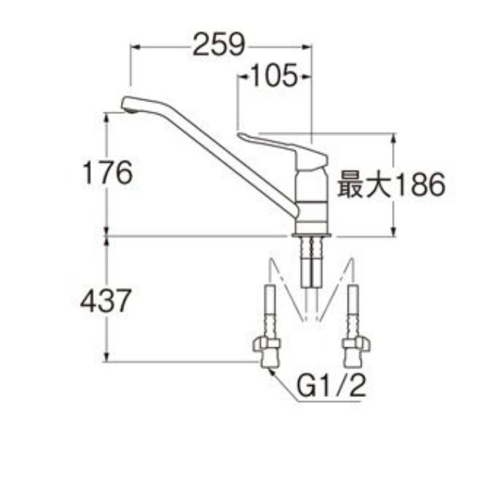 K87110ETJK-13 シングルワンホール混合栓(寒冷地用)