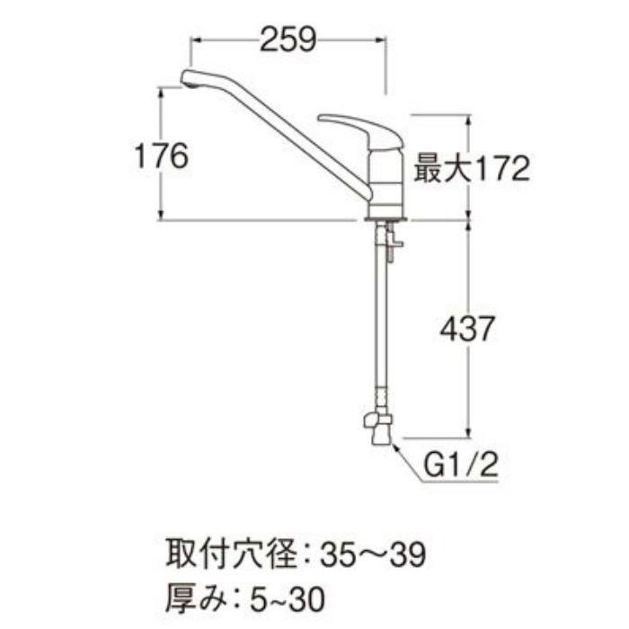 K87110TJK-13 シングルワンホール混合栓(寒冷地用)