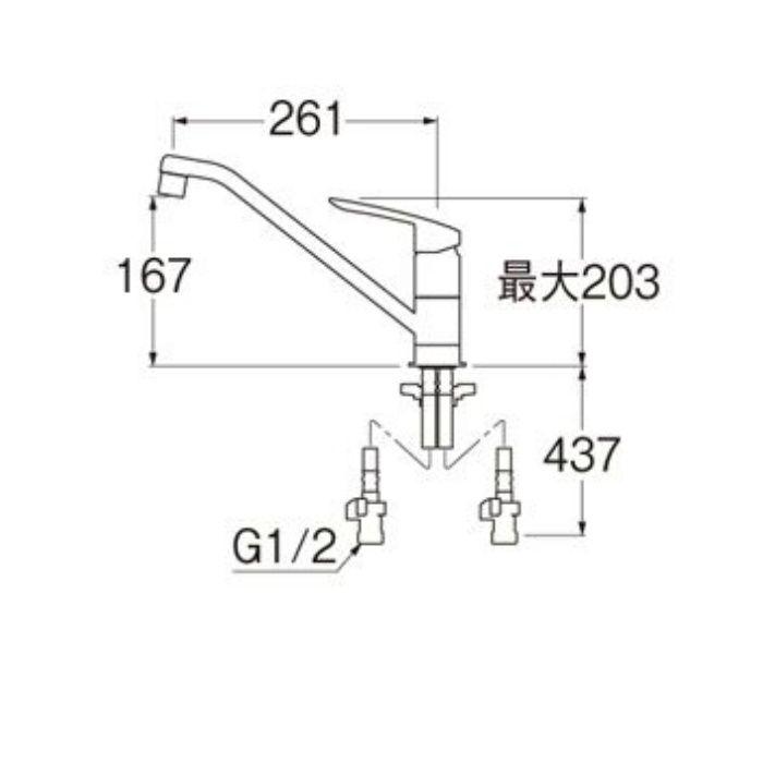 K8712E2TJK-13 COULE シングルワンホール混合栓(寒冷地用)