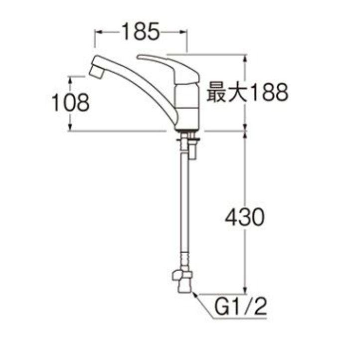 K87610JK-S-13 U-MIX modello シングルワンホール混合栓(寒冷地用)