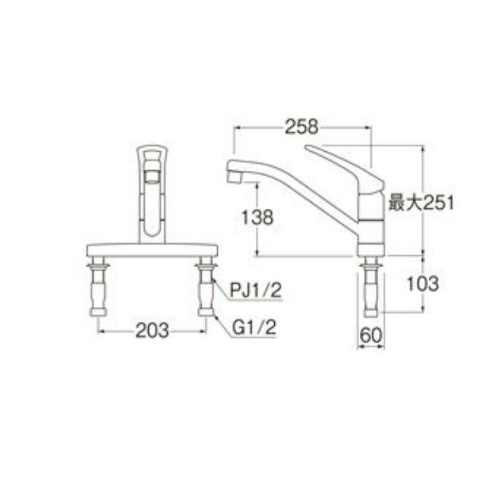 K676EV-13 U-MIX modello シングル台付混合栓