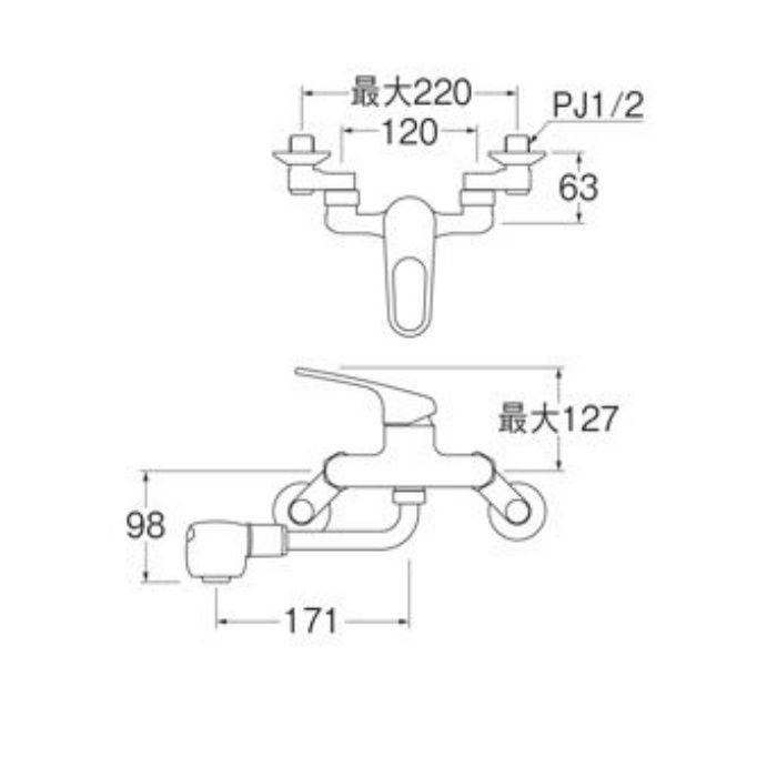 K1700MK-13 U-MIX シングル切替シャワー混合栓(寒冷地用)