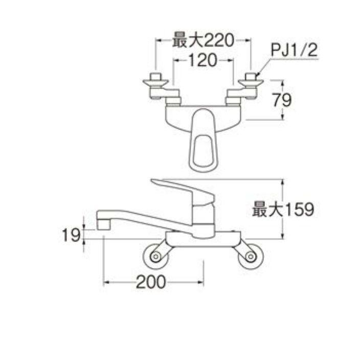K2710EK-13 シングル混合栓(寒冷地用)