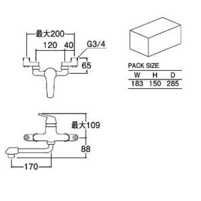 CK1700D-2-20 シングル取替用混合栓