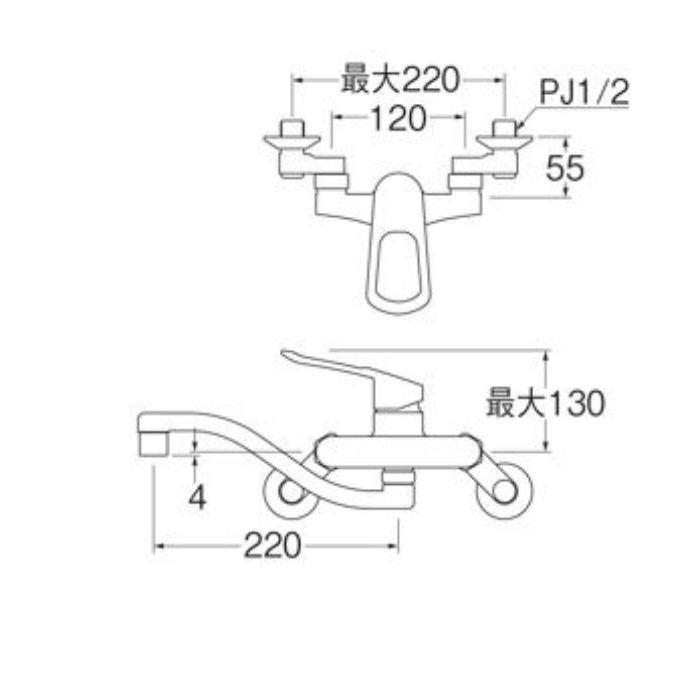 K17CEA-13 シングル混合栓【壁付】
