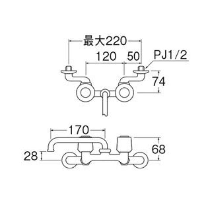 K21K-LH-13 ツーバルブ混合栓(寒冷地用)