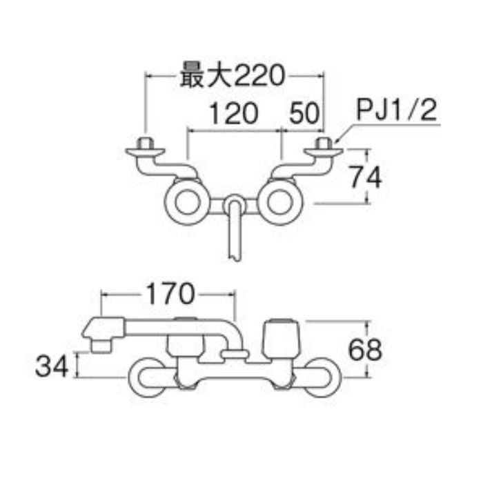 K21DK-LH-13 ツーバルブ混合栓(寒冷地用)【壁付】