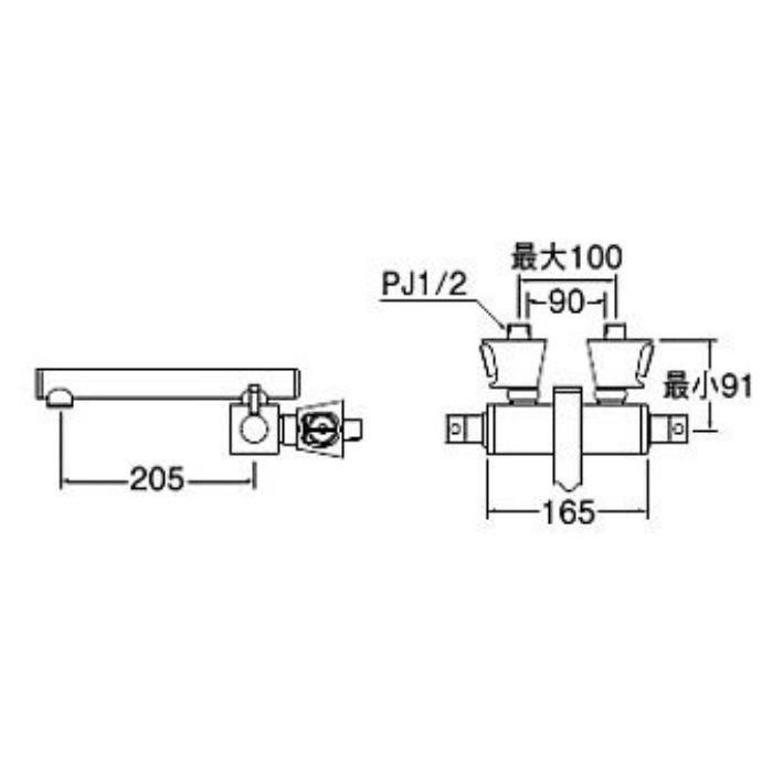 K2530K-JW-13 TOH ツーバルブ混合栓(寒冷地用) 白磁
