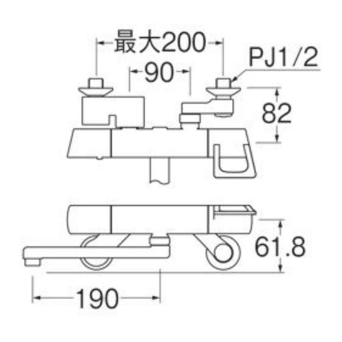 K1814K-13 サーモ混合栓(寒冷地用)【壁付】