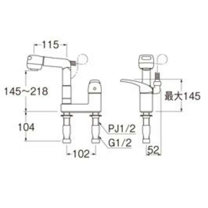 K37100K-13 U-MIX シングルスプレー混合栓(洗髪用)(寒冷地用)【ツーホール(台付)】