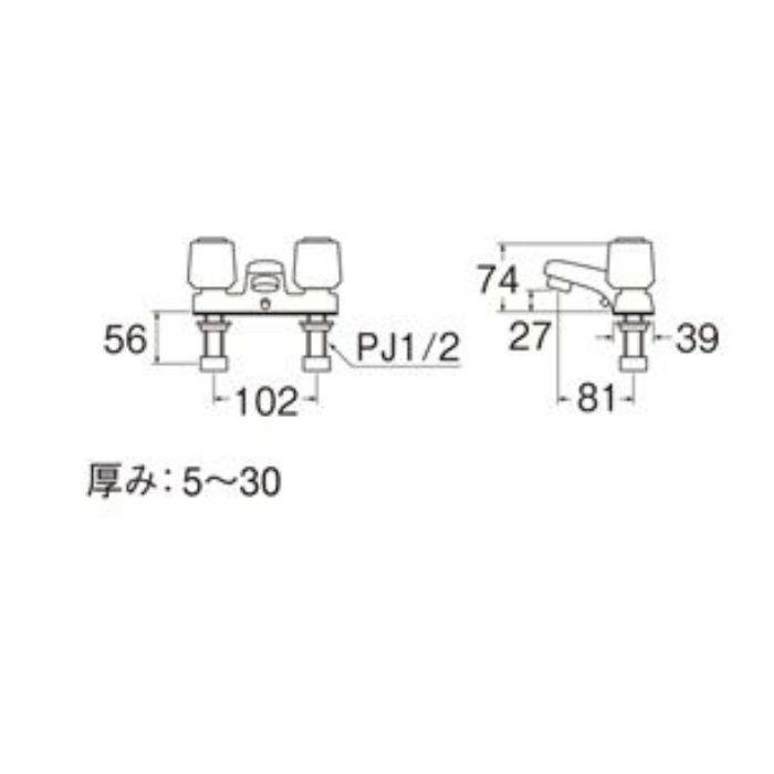K51K-LH-13 U-MIX ツーバルブ洗面混合栓(寒冷地用)