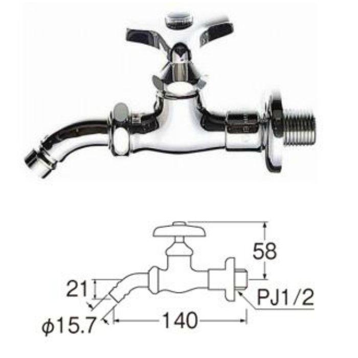 Y133-13 洗濯機用送り座ホーム水栓