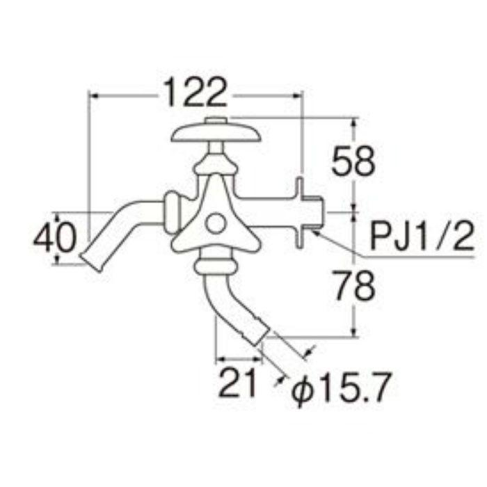 F123A-13 洗濯機用二口横水栓
