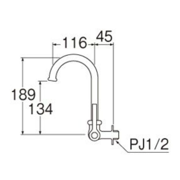 A2316-13 厨房用横形ツル首自在水栓(共用形)