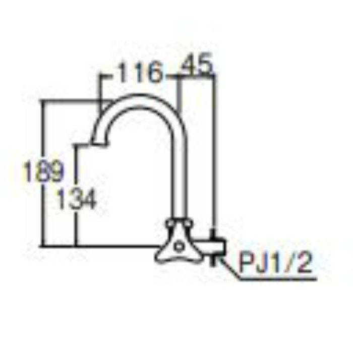 JA26JK-13 横形ツル首自在水栓 寒冷地仕様【壁付】
