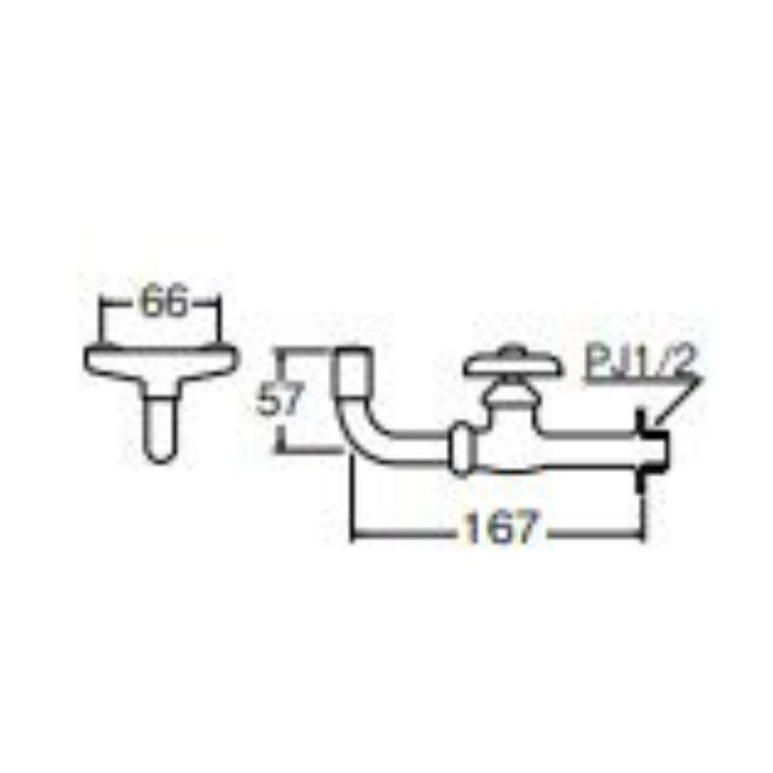 Y25A-13 横形洗眼水栓【壁付】