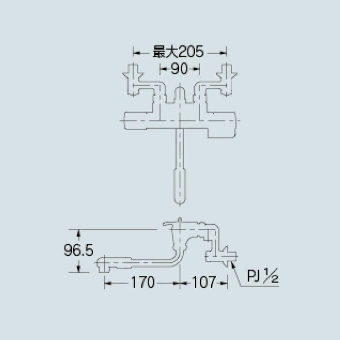 173-071K 浴室水栓 サーモスタットシャワー混合栓(寒冷地仕様)