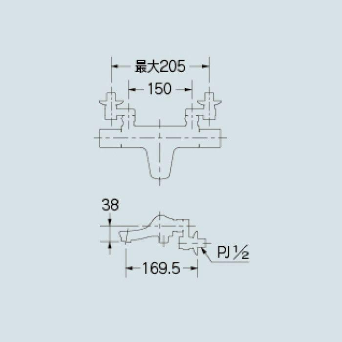 173-246K 浴室水栓 サーモスタットシャワー混合栓(寒冷地仕様)【壁付】